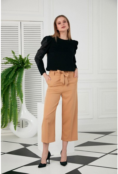 Morpile Kadın Bel Lastikli İspanyol Paça Pantolon
