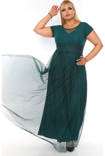 Alfa Abiye Kadın Tül Bol Kesim Lycralı Abiye Elbise 38311