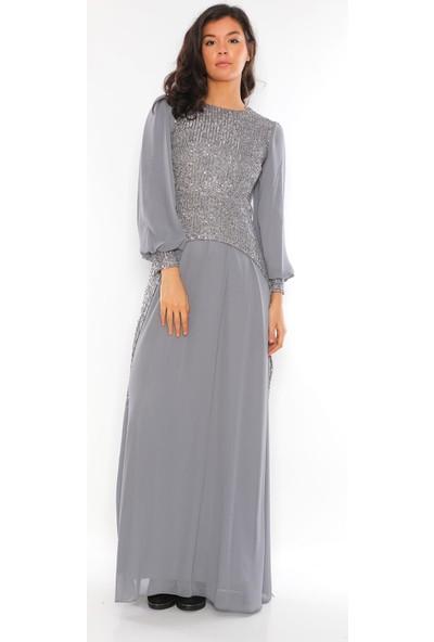 Alfa Abiye Kadın Tesettür Gri Payet Detaylı Şifon Abiye Elbise 39322