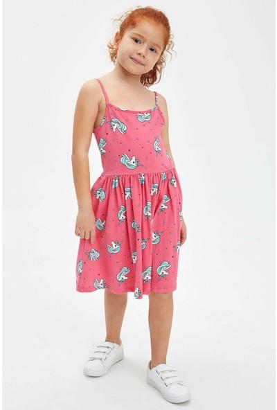 DeFacto Kız Çocuk Baskılı İp Askılı Elbise
