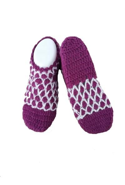 Nuh Home El Yapımı Kışlık Kadın Patik Çorap Mor Renk
