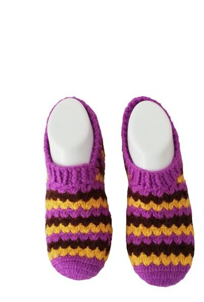 Nuh Home El Yapımı Kışlık Kadın Patik Lila Renk Çorap