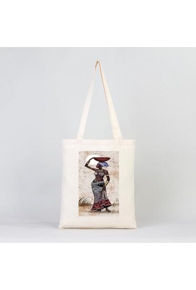Fz Afrikalı Kadın Bez Çanta