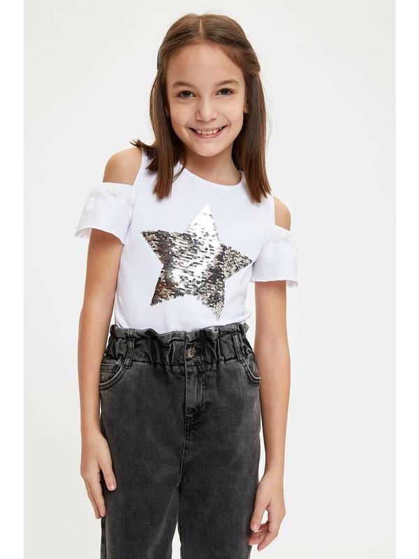 DeFacto Kız Çocuk Yıldız Payet Baskılı Tişört M6830A620SP