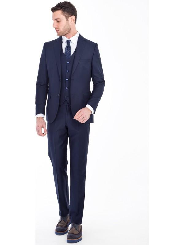 Kiğılı Erkek Slim Fit Yelekli Takım Elbise