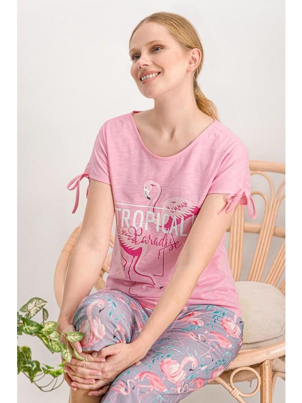 Arnetta Flamingo Açık Pembe Kadın Kapri Takım