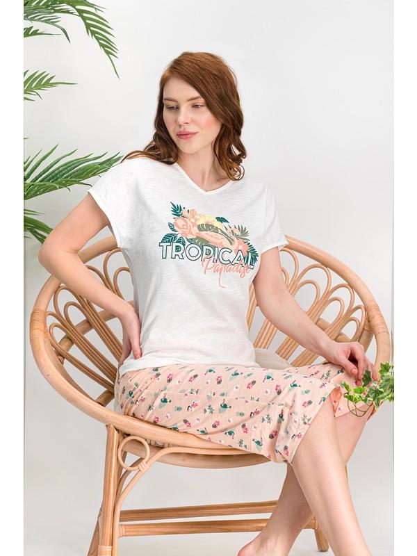 Arnetta Tropical Krem Kadın Kapri Takım