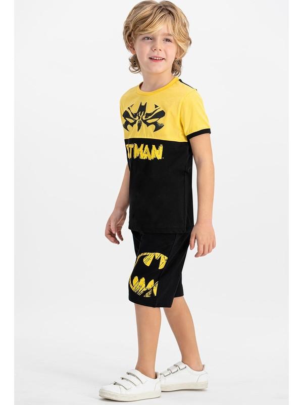 Batman Lisanslı Siyah Bisiklet Yaka Erkek Çocuk Bermuda Takım