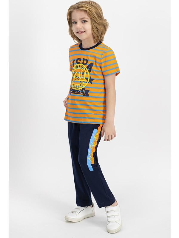 U.S. Polo Assn Lisanslı Turuncu Erkek Çocuk Pijama Takımı