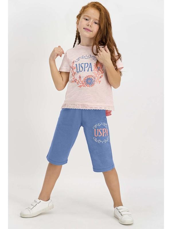 U.S. Polo Assn Lisanslı Somon Kız Çocuk Kapri Takım