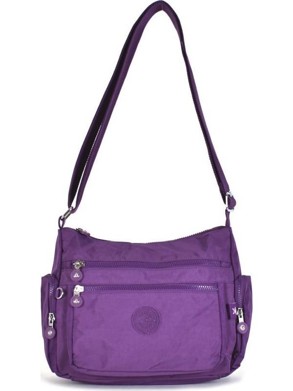 Smart Bags Krinkıl Kumaş Mor Çapraz Çanta 1115