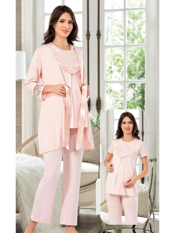 Tampap 3'lü Takım Emzirme Detaylı Lohusa Gecelik Pijama Takımı Pudra