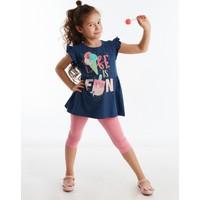 Denokids Fun Fırfırlı Kız Çocuk Tunik Takım