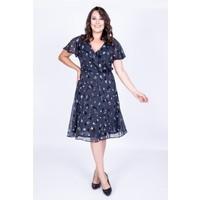 Myline Arkası Çapraz Biyeli Şifon Elbise Lacivert 35144