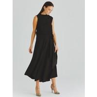 Roman Kadın Bel Detaylı Siyah Elbise