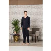 Tampap Boydan Düğmeli Mevsimlik Erkek Hastane Pijama Takımı Lacivert