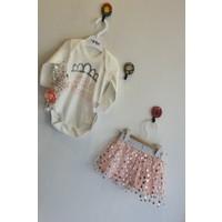 Minilay Kız Bebek 3 - 12 Ay Little Princess Baskılı Bandanalı Tütülü Takım