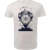 Angemiel Wear Gece Doğa Pusula Nehir Motifi Pamuklu Beyaz Erkek T-Shirt
