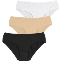 Penti Siyah Beyaz Ten Cover Slip Külot 3'lü Paket