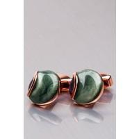 Kravatkolik Bakır Renk Yeşil Taşlı Yuvarlak Kol Düğmesi KD1097