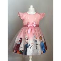 Pumpido Pembe Renk Elsa Karakterli Kız Çocuk Elbisesi
