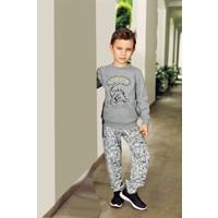 Pikidor Pamuklu Erkek Çocuk Baskılı Pijama Takımı - Gri