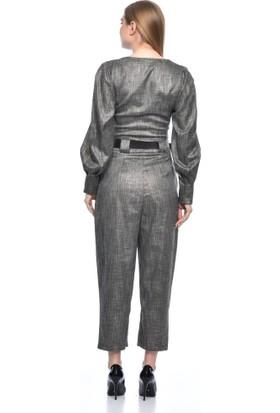 Modkofoni Bisiklet Yaka Uzun Kollu Kemerli Pantolonlu Simli Füme Elbise