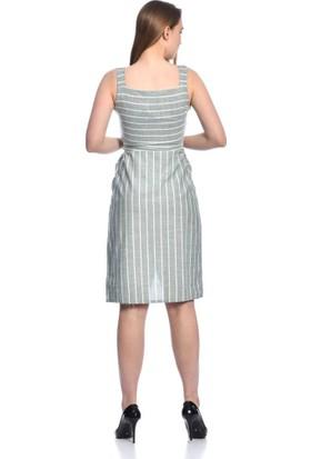 Modkofoni Askılı Göğüs Sıra Düğmeli ve Yandan Cepli Kuşaklı çizgili Mint Keten Elbise S