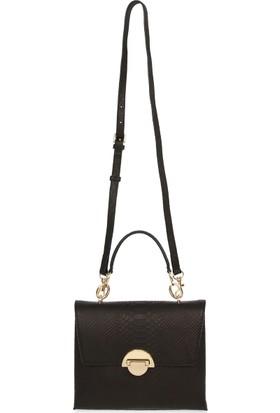 Bellezza By H El Yapımı Gerçek Deri Piton Baskı Siyah Renk El ve Uzun Askısıyla Çapraz Olarak Kullanılabilen Çanta