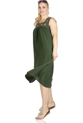 Eliş Şile Bezi Kolsuz Şile Klasik Elbise