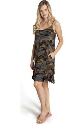 Bexy Bretta - Kamuflaj Desenli Askılı Elbise L