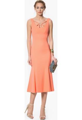 Roman Kadın Boyun Detaylı Yavruağzı Abiye Elbise-Y1611090-031