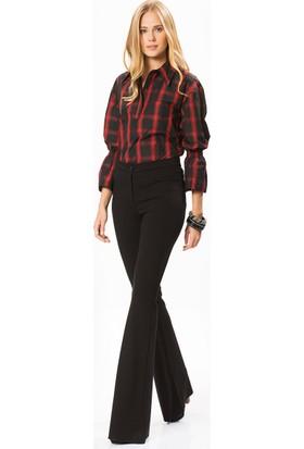 Roman Kadın Ekoseli Kırmızı Bluz-Y1713079-089