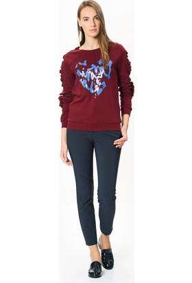 Roman Kadın Kalp Desenli Bordo Sweatshirt-K1752212-008