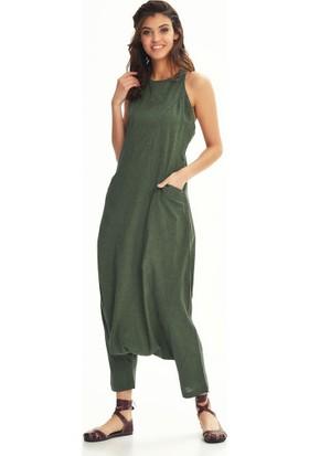 Los Banditos Dekolteli Fermuarlı Cepli Kadın Yeşil Şalvar Tulum-pt109_kırcıllıyesil1 L