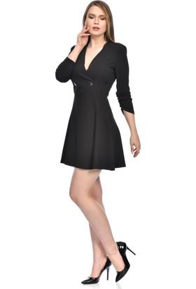 İroni Kruvaze Yaka Krep Mini Siyah Elbise