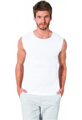 Özlem Donex 2024 Erkek Ribana Sıfır Kol Atlet Beyaz