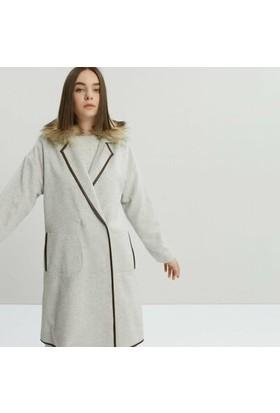 Yargıcı Kürk Yakalı Deri Biyeli Palto
