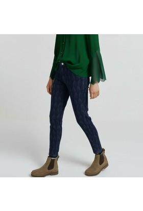 Yargıcı Desenli Denim Pantolon