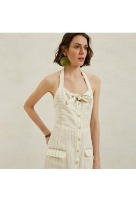 Yargıcı Önden Bağlamalı Midi Elbise
