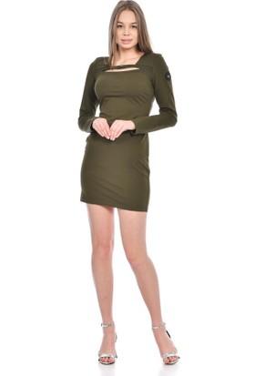 Modkofoni Uzun Kollu Yaka Detaylı Haki Elbise S