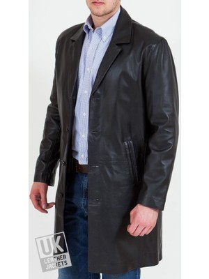 Derimont's Uzun Siyah Deri Ceket