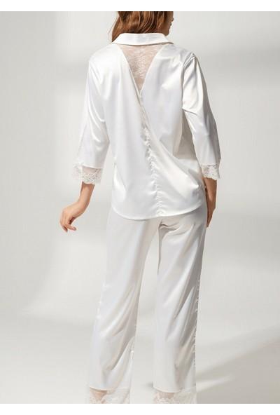 Suwen Latte Lace Saten Pijama Takımı - Ekru