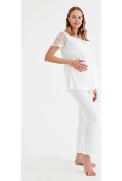 Suwen Angel Hamile Lohusa Pijama Takımı - Ekru