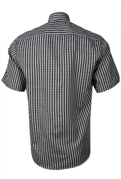 Varetta Keten Efektli Kısa Kollu Klasik Kesim Siyah Erkek Gömlek
