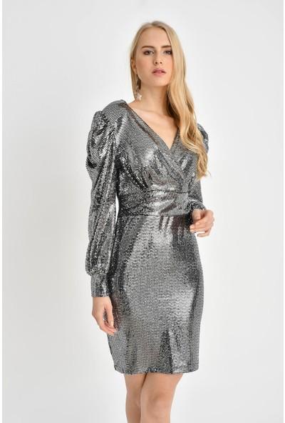 Tena Kadın Gümüş Parlak Kabarık Kollu Elbise 0YBELSA3534