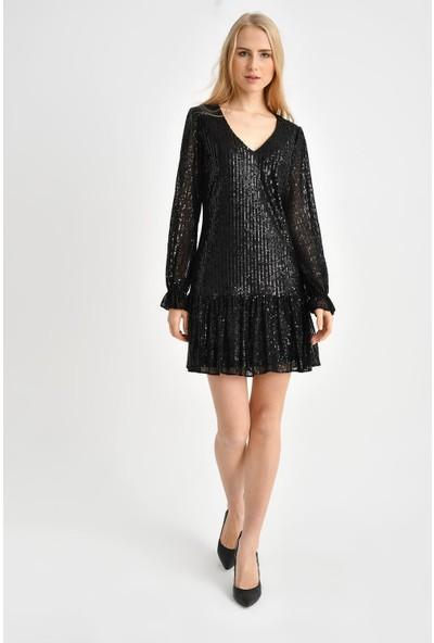 Tena Kadın Siyah Volanlı Payet Elbise 0YBELSA3538