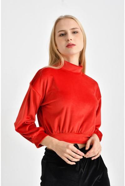 Tena Kadın Kırmızı Yarım Balıkçı Kadife Bluz 9KBBLFE6299