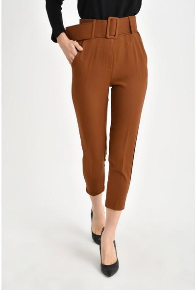 Tena Kadın Kiremit Kalın Kemerli Pantolon 9KBPNMM-059