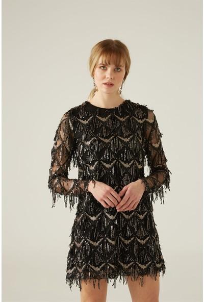 Livanomi Püsküllü Siyah Elbise